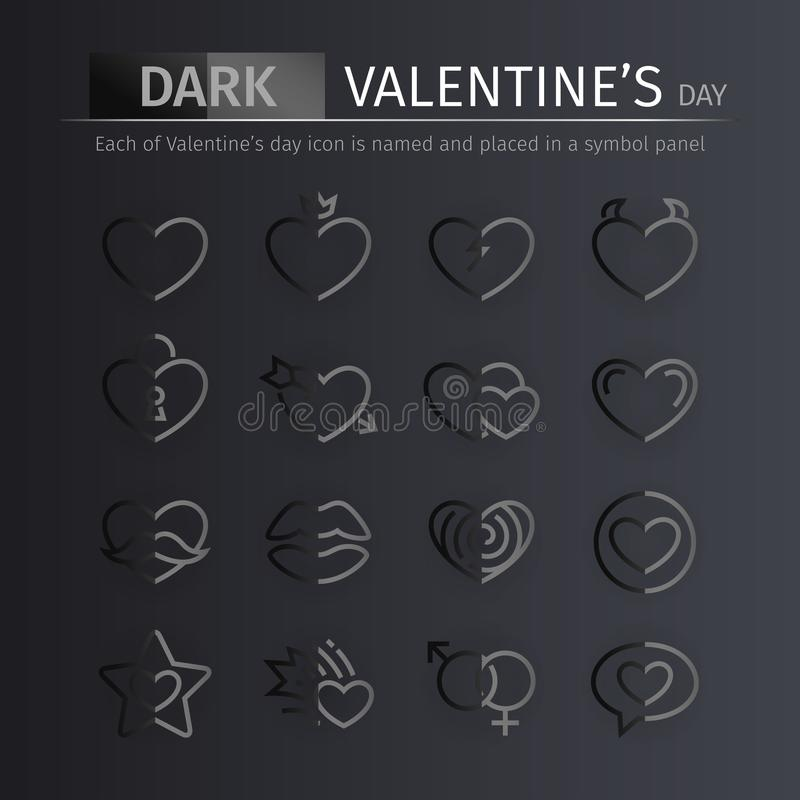 Темные установленные значки дня валентинок лоска иллюстрация вектора