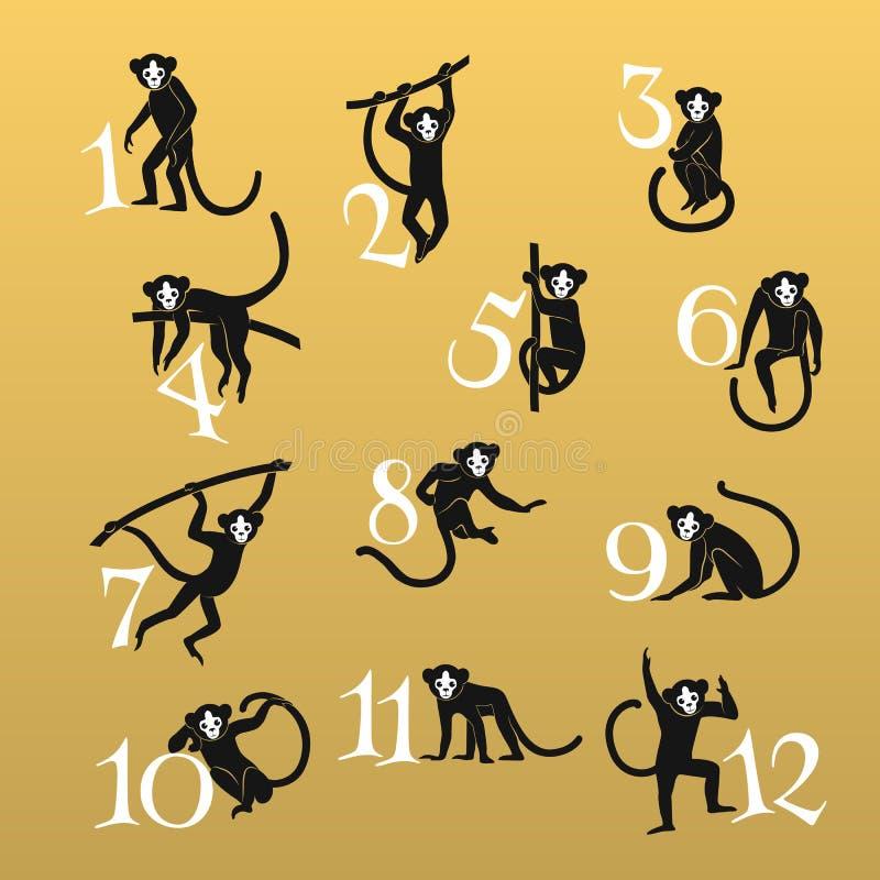Темные установленные обезьяны иллюстрация вектора