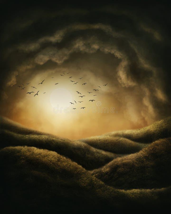 Темный ландшафт иллюстрация штока