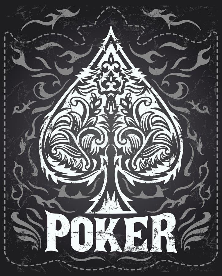 Темный винтажный значок покера - западный стиль иллюстрация вектора