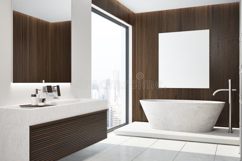 Темный деревянный интерьер ванной комнаты, ушат, сторона плаката иллюстрация штока