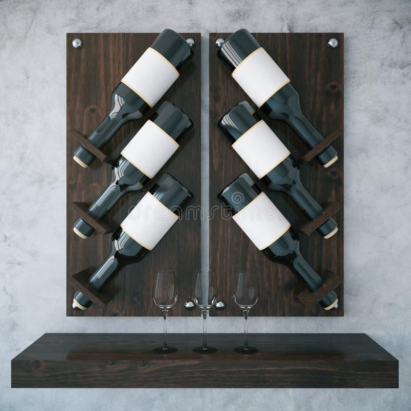 Темный деревянный шкаф вина иллюстрация вектора