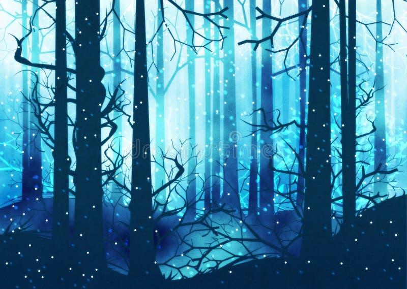 Темный лес зимы бесплатная иллюстрация