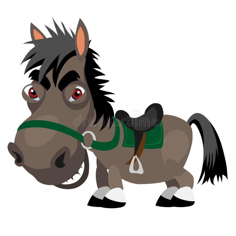 Темный жеребец с красными глазами, персонаж из мультфильма иллюстрация штока
