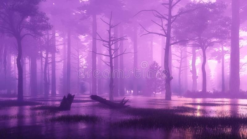 Темный загадочный и болотистый лес туманной ночью иллюстрация вектора