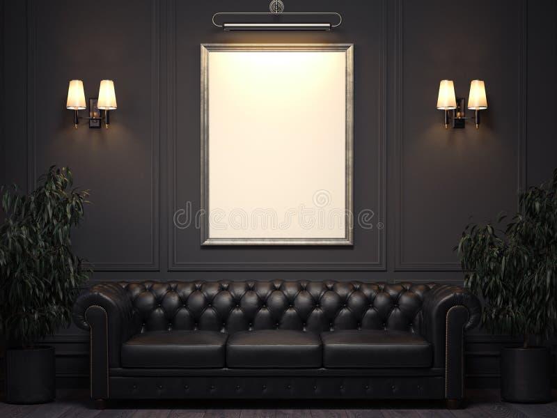 Темный классический интерьер с софой и картинная рамка на стене перевод 3d стоковые фото