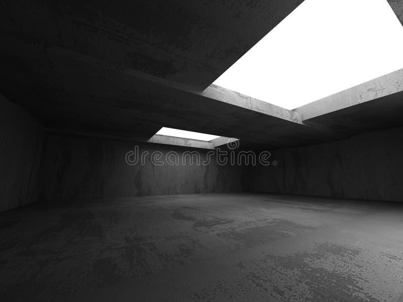 Темный конкретный интерьер комнаты Ба абстрактной архитектуры промышленный иллюстрация вектора