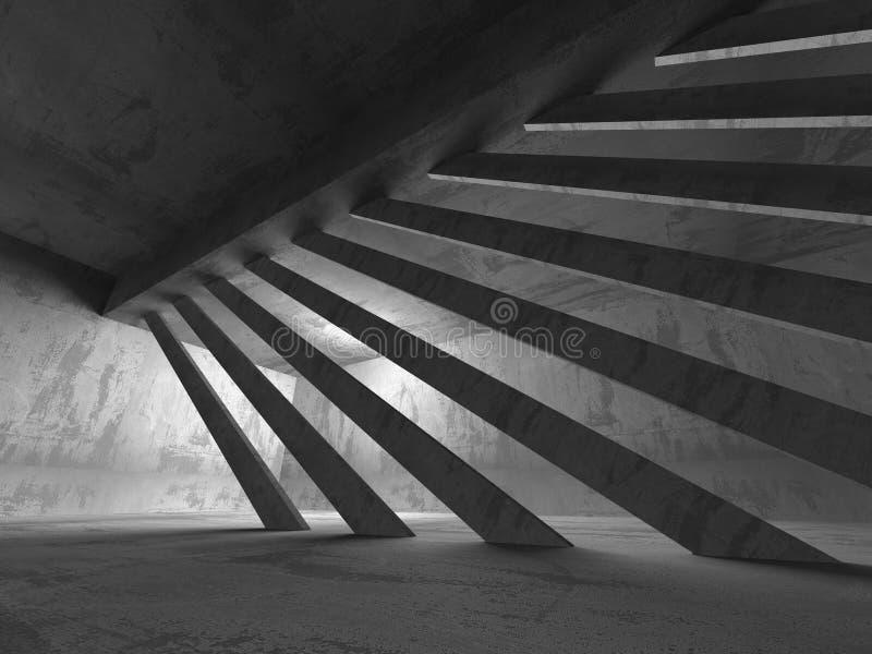 Темный конкретный интерьер комнаты Ба абстрактной архитектуры промышленный бесплатная иллюстрация