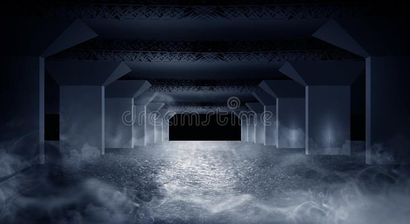 Темный коридор подземного гаража иллюстрация вектора