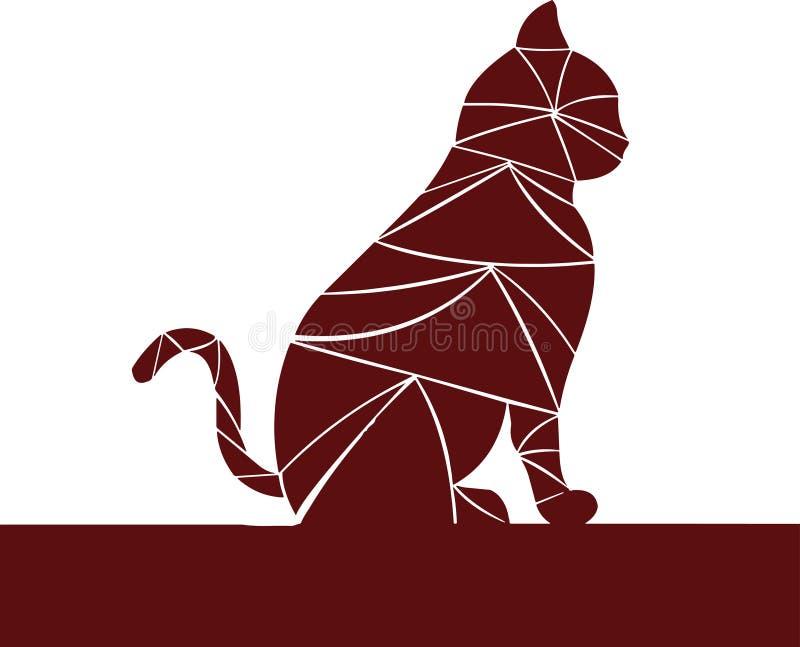 Темный - красный цвет Кот ждет бесплатная иллюстрация