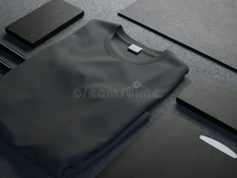 Темный модель-макет с пустой футболкой стоковое фото