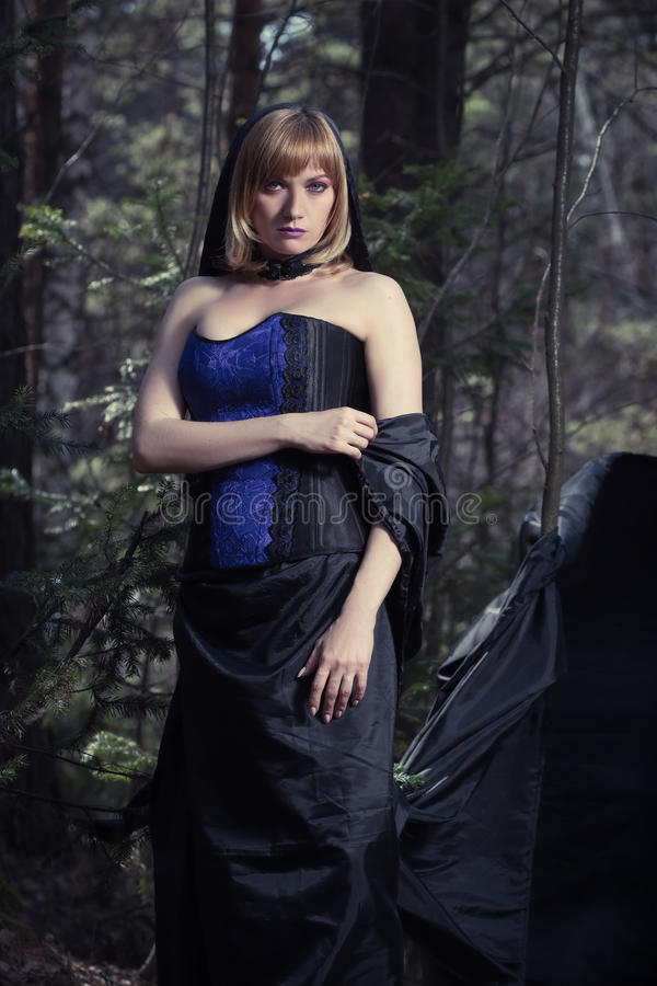 Темный портрет хранителя леса Фантазия и стоковое изображение