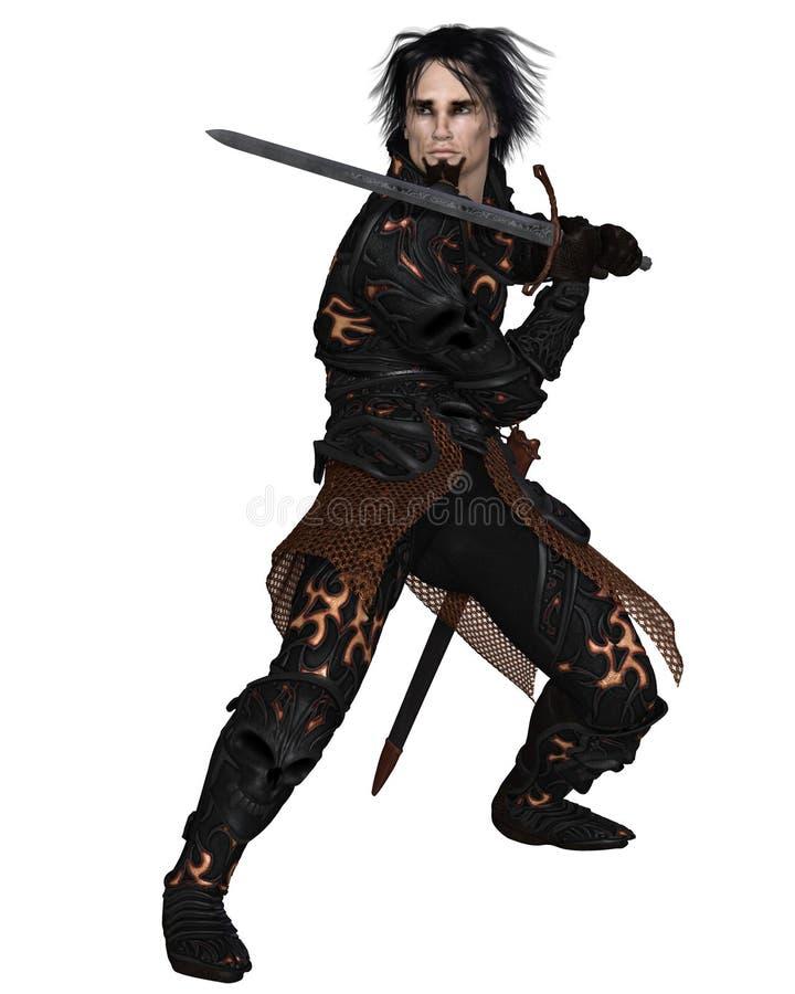 Темный ратник держа шпагу бесплатная иллюстрация