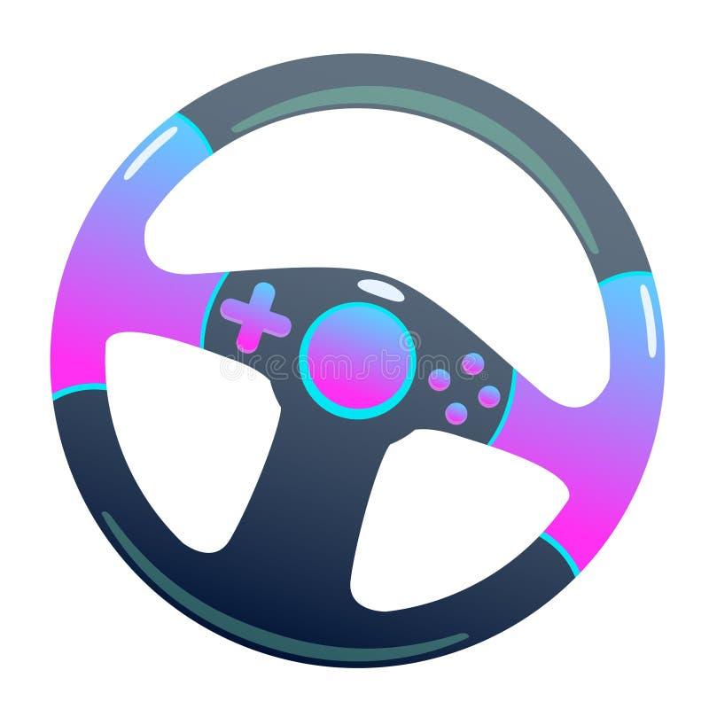 Темный руль на изолированной предпосылке, яркий плоский значок игры бесплатная иллюстрация