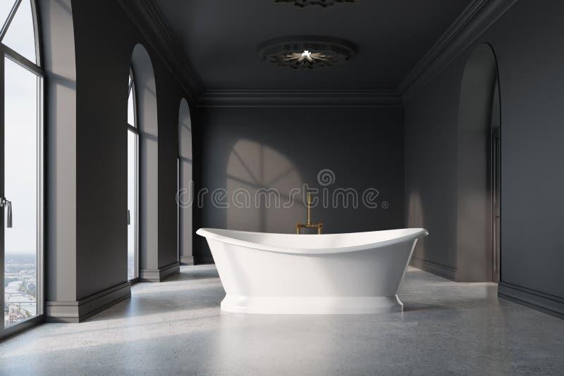 Темный - серая ванная комната, первоначально белый ушат бесплатная иллюстрация