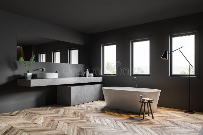 Темный - серые угол, ушат и раковина bathroom иллюстрация вектора