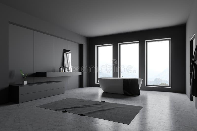Темный - серый угол bathroom просторной квартиры иллюстрация вектора