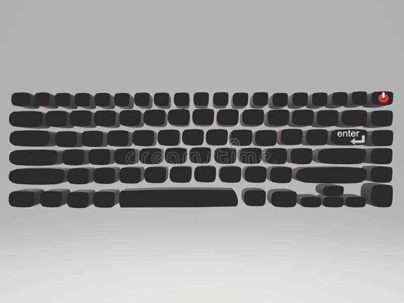 Темный - серый чертеж размера клавиатуры с силой и вписать самое интересное кнопки иллюстрация штока