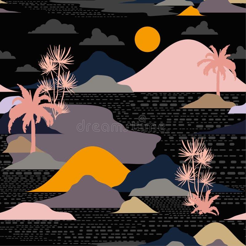 Темный силуэт ночи острова, пальмы, пляжа, горы на mo иллюстрация вектора