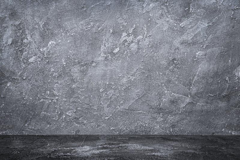 Темный - стена и пол серого grunge конкретная текстурированная стоковая фотография rf