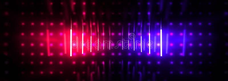 Темный тоннель, коридор, комната с дымом, неон неонового света, красных и голубых иллюстрация вектора