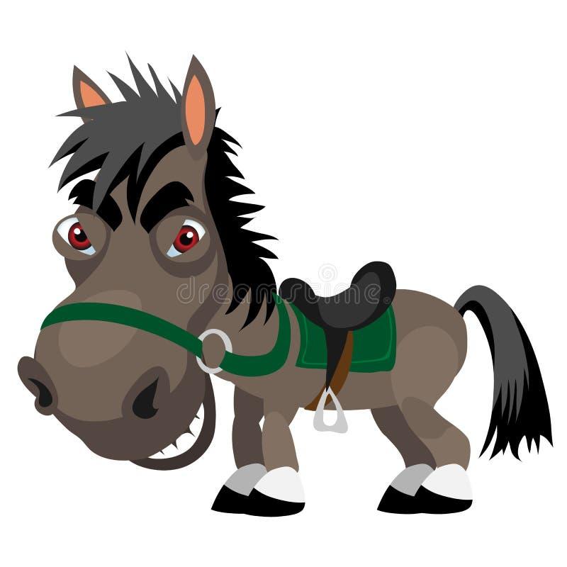 Темный лукавый жеребец, характер шаржа смешной бесплатная иллюстрация