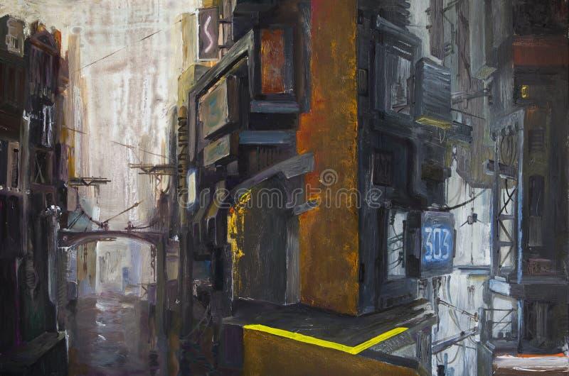 Темный футуристический городской пейзаж бесплатная иллюстрация