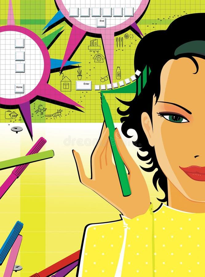 Темн-с волосами девушка пишет и рисует тексты с рукой для того чтобы улучшить развитие функции и памяти мозга на желтой зеленой п иллюстрация вектора
