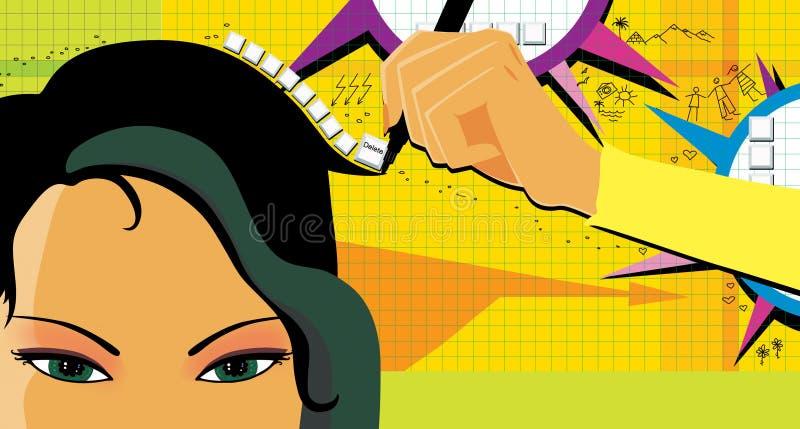 Темн-с волосами девушка пишет и рисует тексты с рукой для того чтобы улучшить развитие функции и памяти мозга на желтой зеленой п бесплатная иллюстрация