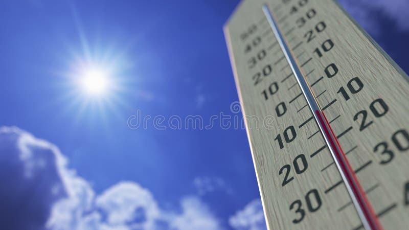 Температура падает до -10 минус 10 градусов по Цельсию, близость термометра Прогноз погоды: трехмерная прорисовка бесплатная иллюстрация
