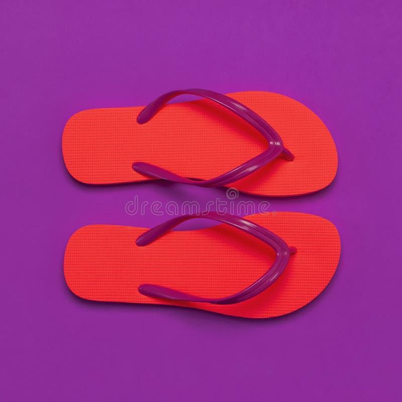 Темповые сальто сальто коралла на пурпурной предпосылке ( Творческая предпосылка перемещения летних каникулов Лето женщин стоковые фотографии rf