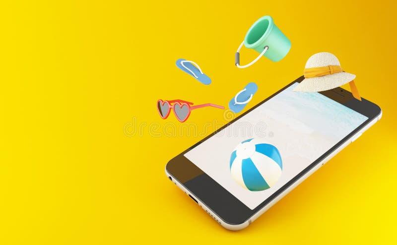 темповые сальто сальто 3d, солнечные очки, шарик пляжа и соломенная шляпа на smartph иллюстрация штока