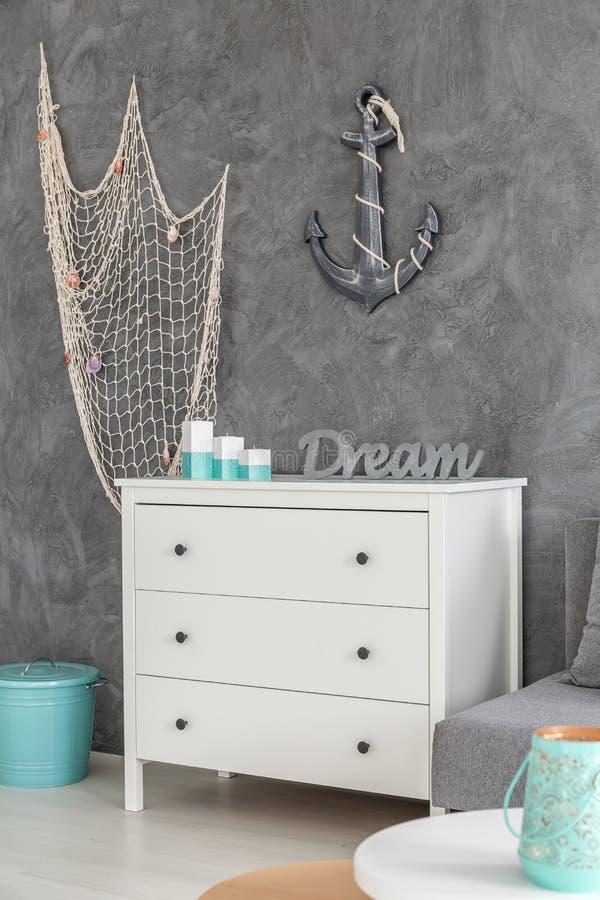 Темы моря в дизайне комнаты стоковое изображение