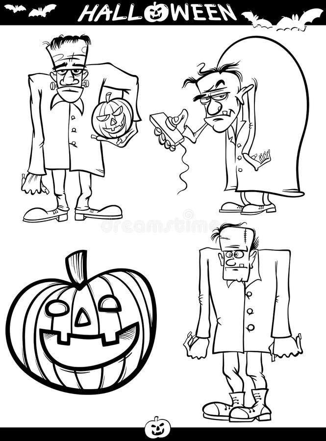 Темы шаржа хеллоуина для книжка-раскраски иллюстрация штока
