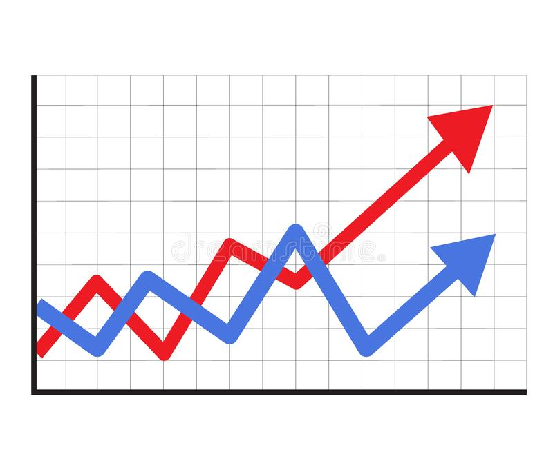 Тенденция вверх по значку диаграммы в ультрамодном изолированному на белой предпосылке r знак запаса значок стрелки прогресса рос иллюстрация вектора