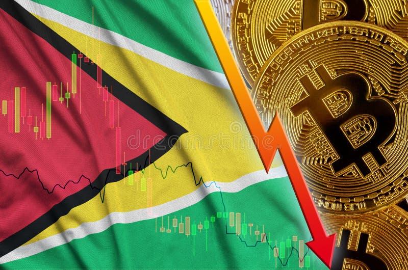 Тенденция флага и cryptocurrency Гайаны понижаясь с много золотых bitcoins бесплатная иллюстрация