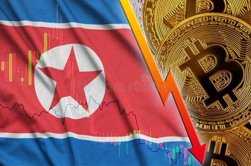 Тенденция флага и cryptocurrency Корейской Северной Кореи понижаясь с много золотых bitcoins иллюстрация вектора