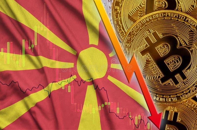 Тенденция флага и cryptocurrency Македонии понижаясь с много золотых bitcoins иллюстрация вектора