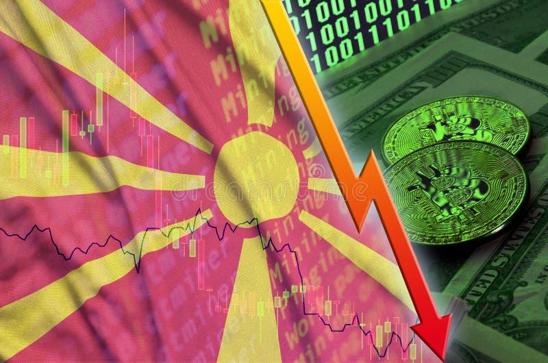 Тенденция флага и cryptocurrency Македонии понижаясь с 2 bitcoins на долларовых банкнотах и дисплее бинарного кода иллюстрация вектора