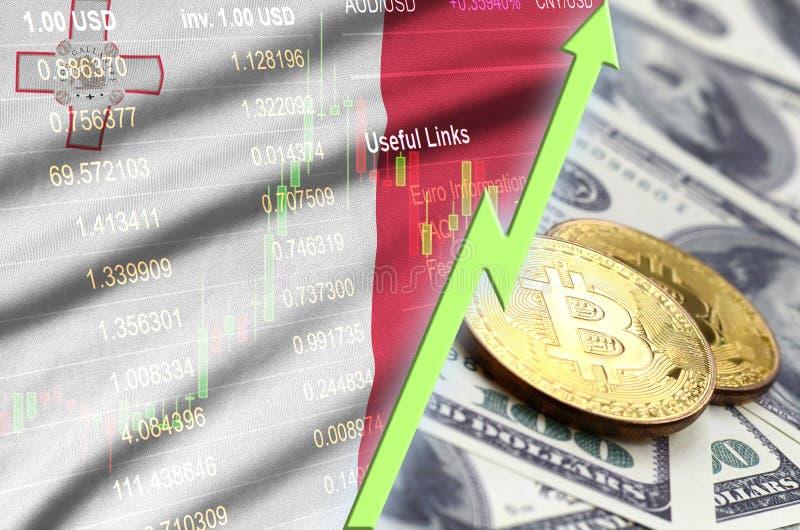 Тенденция флага и cryptocurrency Мальты растя с 2 bitcoins на долларовых банкнотах иллюстрация вектора