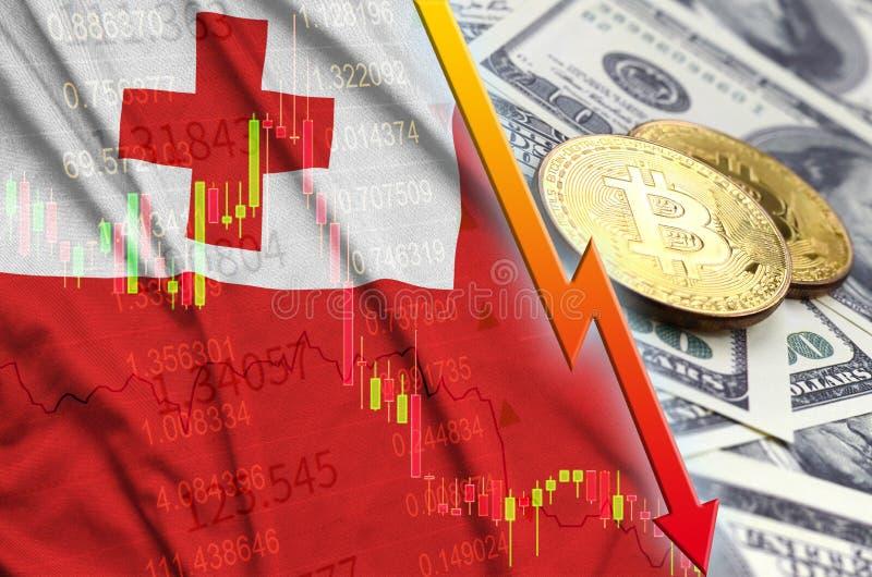 Тенденция флага и cryptocurrency Тонги понижаясь с 2 bitcoins на долларовых банкнотах бесплатная иллюстрация