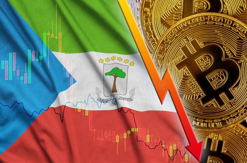 Тенденция флага и cryptocurrency Экваториальной Гвинеи понижаясь с много золотых bitcoins иллюстрация штока