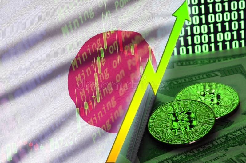 Тенденция флага и cryptocurrency Японии растя с 2 bitcoins на долларовых банкнотах и дисплее бинарного кода иллюстрация вектора