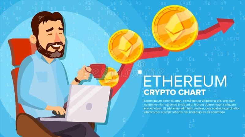 Тенденция Ethereum поднимающая вверх, вектор концепции роста Торговая диаграмма Инвестор человека виртуальных денег счастливый Се иллюстрация вектора