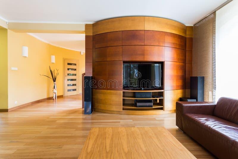 Тени коричневого цвета в комнате ТВ живущей стоковая фотография