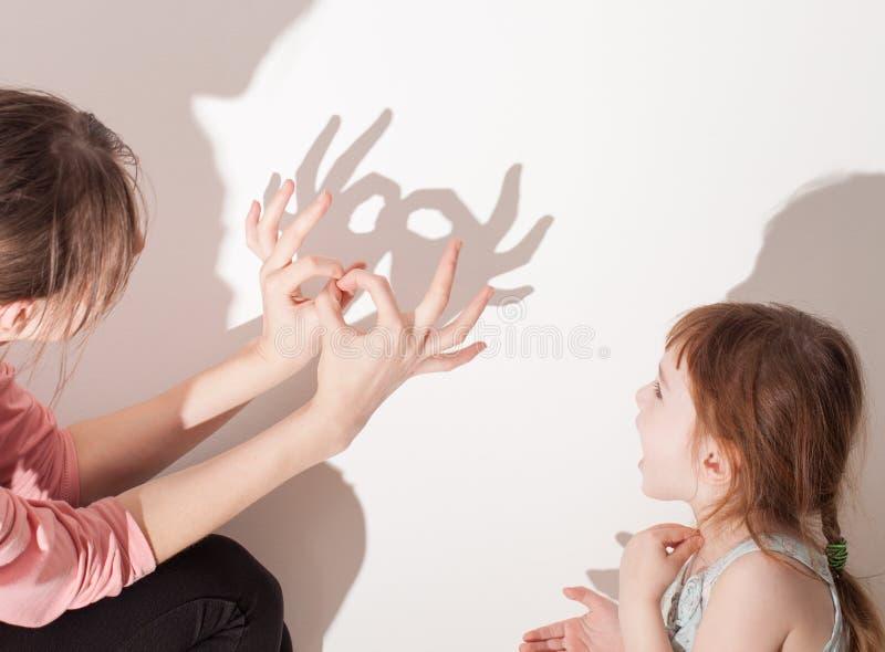 Тени от руки на белой стене стоковое изображение rf