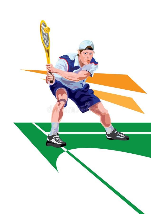 Теннисист, шарж и вектор резвятся характер - иллюстрация стоковое фото