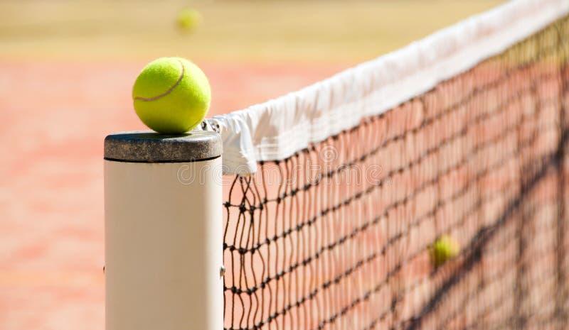 Теннисные мячи на суде около сетей тенниса стоковое фото