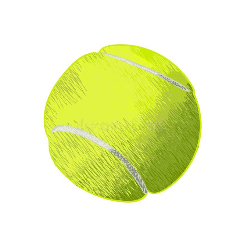Теннисный мяч Нарисованная рукой иллюстрация вектора бесплатная иллюстрация