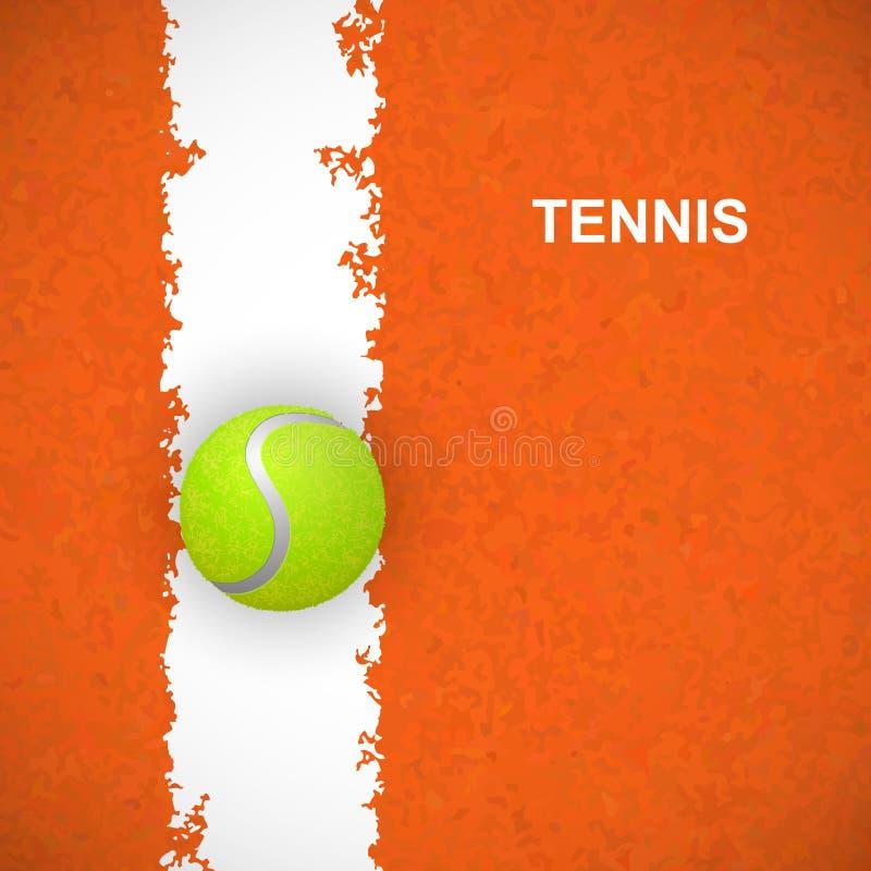 Теннисный мяч на суде вектор иллюстрация штока
